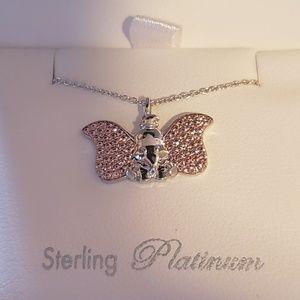 Disney Parks Sterling Platinum Dumbo Necklace New